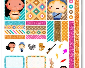 Native Princess Decorating Kit / Weekly Spread Planner Stickers for Erin Condren Planner, Filofax, Plum Paper