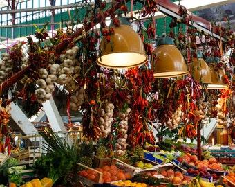 Florence Italy - Market - Peppers - Garlic - Fine Art Photograph - San Lorenzo Produce