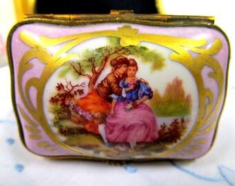 Sevres Style Signed Courting Couple Trinket Holder MiniaturePink Fragonrd
