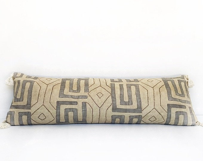 XXL African Kuba Cloth Printed Textile With Tassels Lumbar Pillow Cover 18x52