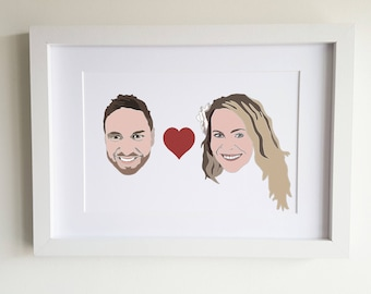 Custom couple Portrait, unique Wedding Gift Idea, Engagement Gift, Anniversary Gift, Couple Portrait, Bride groom gift, him and her gift