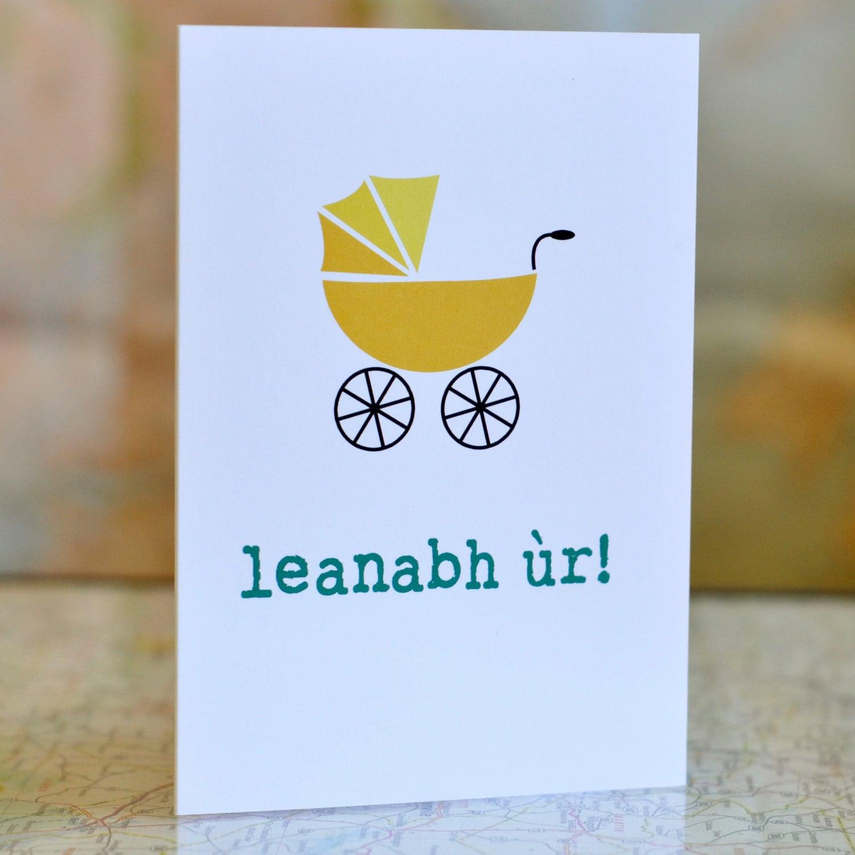 Leanabh R New Baby Scottish Gaelic Card