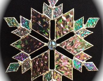 stained glass snowflake suncatcher (design 10)