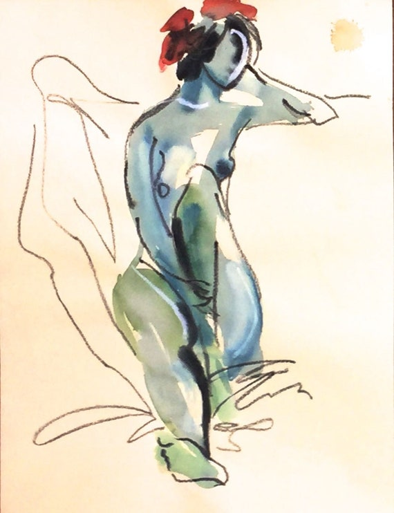 Nude painting- Original watercolor painting of Nude #1511 by Gretchen  Kelly