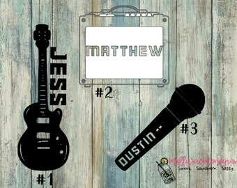 Guitar Amp Microphone vinyl decal with name