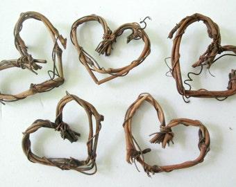 "5 vine hearts, grapevine hearts, 2"", DIY decor, DIY Wedding decor, hearts for crafting, fairy garden decor"