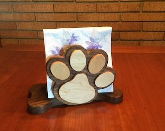 Dog Themed Napkin Holder, Walnut, Maple