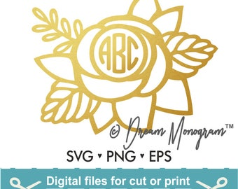 Monogram Frame Svg / Floral Frame Svg / Floral Monogram Frame Svg / Cutting files for use with Silhouette Cameo and Cricut
