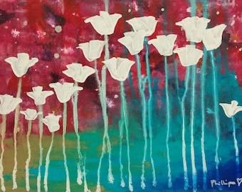 "ORIGINAL Acrylic Painting ""Celestial Family"" Bright Bold Abstract Flowers by Australian Artist PhillipaheART"