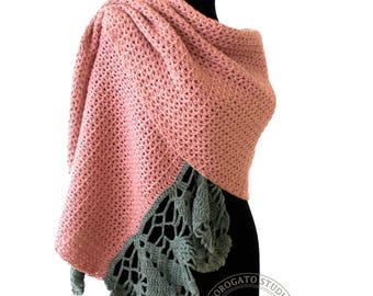 Crochet Scarf With Trim Pattern, Crochet Shawl Pattern, Stole Pattern, Crochet Lace Shawl, Pattern Shrug, Instant Download /1015/
