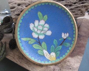 Vintage Floral Cloisonne Trinket or Pin Dish