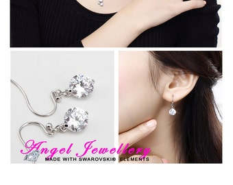 Fashion Handmade Zircon Diamond Earrings Clear Crystal Sterling Silver 925 For Pierced Ears Perfect Gift For Ladies