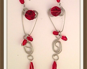 Handmade MWL forged wire heart and wire spiral long dangle earrings, with red beads. 0004