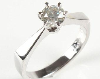 White Gold Engagement Ring 1/2 Carat - Unique Diamond Solitaire Engagement Ring - 14K White Gold Ring - Natural Diamond  Ring