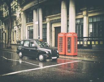 London Photography, London Print, Black Cab, Red Phone Box, London Phone Booth, London Print, London Decor, London Wall Art, Travel Photo