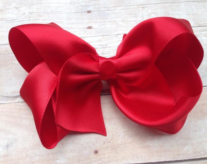 Red satin hair bow - satin bows, hair bows, bows, hair clips, hair bows for girls, baby bows, baby hair bows, toddler bows, boutique bows