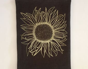 Linen Tea Towel - Sunflower design - Choose your fabric and ink color