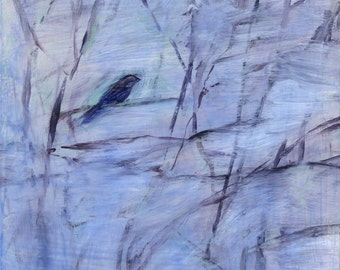 Purple Bird on Lavender and White (Winter Scene) - original painting by Irene Stapleford