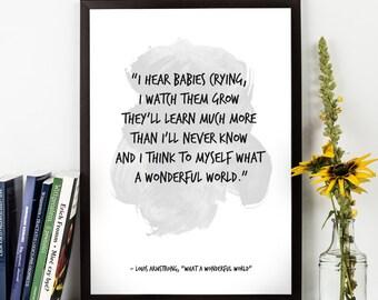 "What a wonderful world (...), Louis Armstrong LYRICS,  ""What a wonderful world"" lyrics, M<usic lyrics, Inspirational, Music Art print."
