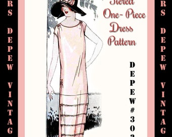 Vintage Sewing Pattern Instructions 1920s Tiered One-Piece Dress Ebook Depew 3021 -INSTANT DOWNLOAD-