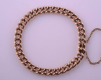 15ct Rose Gold Victorian Hollow Curb-Link Bracelet (581s)