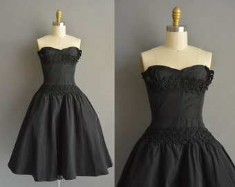 1950s vintage small black dress 50s vintage party dress full skirt 1950s dress