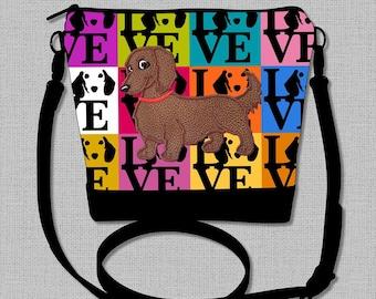 Long Hair Dachshund Cross Body Bag with a Flirty Red/Brown Long Hair Dachshund  - Made to Order