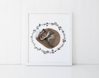 Sleeping Baby Fox Print 5x7 Nursery Art Print
