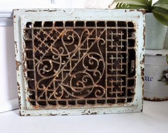 Antique Floor Register, Heating Grate with louvers, Cast Iron, Victorian, signed, Patented August 8, 1886