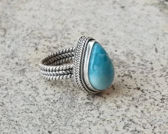 Silver ring, larimar ring, boho ring, silver larimar ring, silver boho ring #silver boho ring, bohemian silver ring, larimar silver, ring
