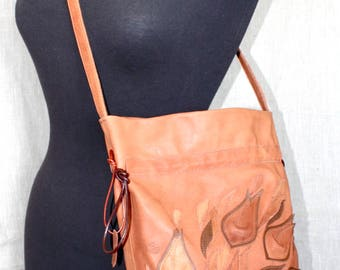 Leather Bag with Flowers Shopper Italian Leather Boho Shoulder Bag Bucket Bag Brown leather tote Handbag Woman Evening Mothers Day gift wife
