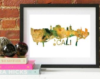 Cali Watercolor Skyline, Cali Skyline, Cali Art, Cali Poster, Cali Print, Cali Art, Cali Map, Cali Wall Art, Columbia Art