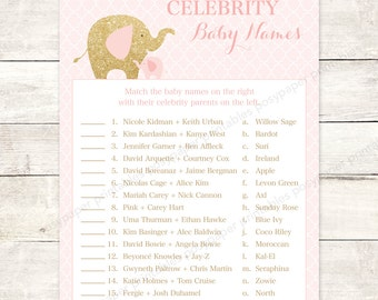 celebrity baby names matching game card printable elephant pink gold glitter baby girl baby shower digital games INSTANT DOWNLOAD