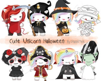 Cute Unicorn Halloween clipart instant download PNG file - 300 dpi