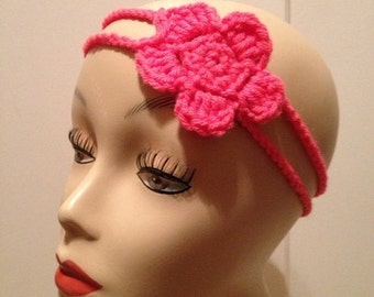 PATTERN for pink crochet flower headband