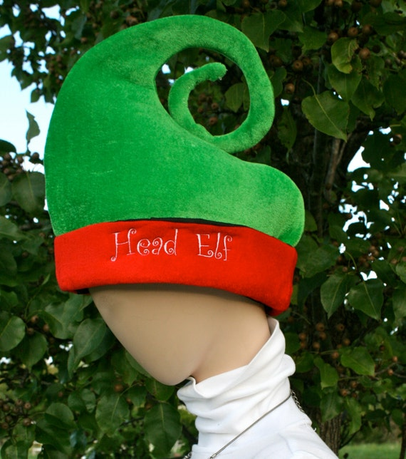 Green and red Christmas elf hat for adult. You decide the saying / name / customization. Embroidery. Monogram. Customize. Personalize!!