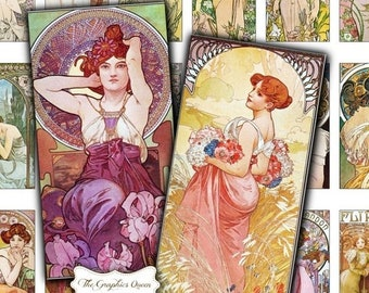 80% OFF Summer Sale Mucha Print 1 x 2 Digital Collage Sheets INSTANT Download  Pendant Jewelry Mucha Jewelry Rectangle Necklace Domino Penda