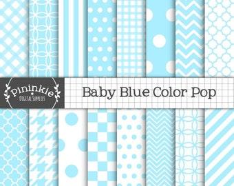 Pastel Blue Digital Paper - Baby Boy Digital Paper - Instant Download - Commercial Use CU - blue chevron, blue polka dots, blue stripe