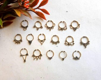 Fake Septum Ring, 16 Designs, brass septum, Handmade, Fake Septum Ring without piercing Septum Cuff, Septum Clip, Tragus, Helix. GN16