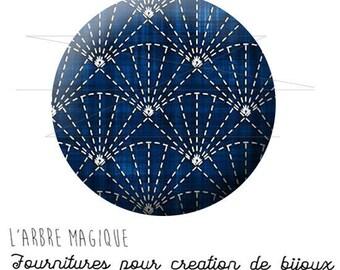 2 cabochons glue Japan blue pattern ref 1604 - 20/18/16/14/12 mm glass-