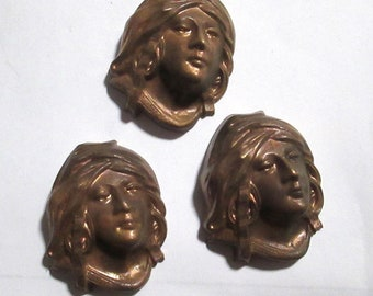 1 Vintage French Art Nouveau Brass Stamping 1030's