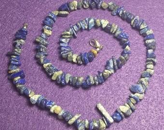 Lapis Stone Chip Necklace, Handmade