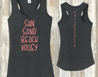Volleyball Heathered Racerback Tank - VolleyChick Summer Love