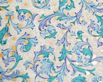 Florentine Paper - 5 x 4.25 inches - Blue and Teal with Gold Highlights