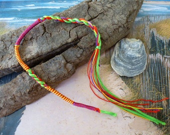braided Friendship Bracelet neon green and purple with loop and thread colors