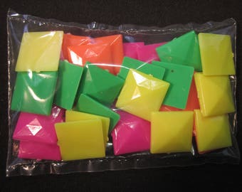 "36 Talisman 1"" square florescent colors plastic jewels, pink,yellow,green,orange, for decorating clothes or other items"