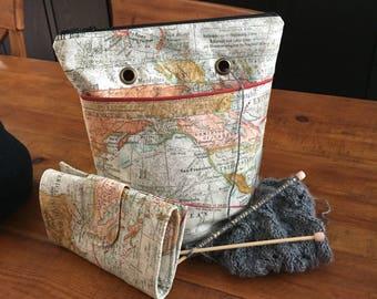 Set- Crochet hook clutch case and project bag - yarn craft organizer gift set