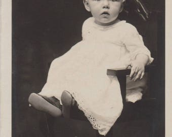 Antique Black and White Baby Photograph Postcard, Vintage Photo Postcard, Old Photograph, Old Pictures, Baby Portrait, Ephemera