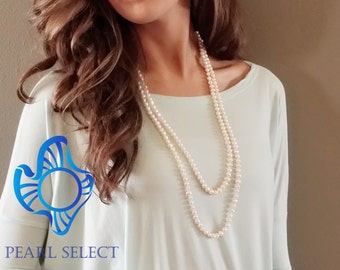 """long pearl necklace 62"""" 7-8mm white, freshwater pearl necklace, baroque pearl necklace, opera necklace, white pearl necklace"""