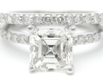 1.84ctw ASSCHER CUT prong set ETERNITY diamond engagement ring & band 14k white gold